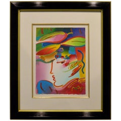 """Peter Max Original Acrylic """"The Profile"""" Painting on Paper in Red, Blue & Green"""