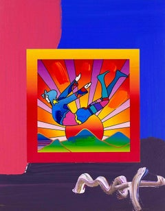 Cosmic Flyer With Sun on Blends, Mixed Media Painting, Peter Max - SIGNED