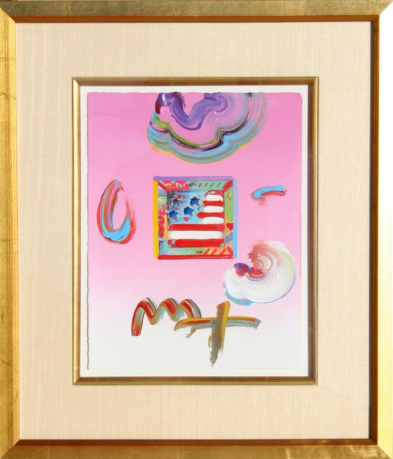 Artist: Peter Max, German/American (1937 - ) Title: Flag (Pink) Year: 2009 Medium: Acrylic and Collage on Paper, Signed  Size: 11 in. x 8.5 in. (27.94 cm x 21.59 cm) Frame Size: 20 x 17 inches