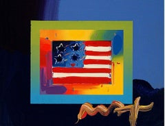 Flag With Heart On Blends, Orig Mixed Media Painting, Peter Max - SIGNED