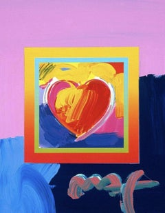 Heart On Blends II, Original Mixed Media Painting, Peter Max - SIGNED