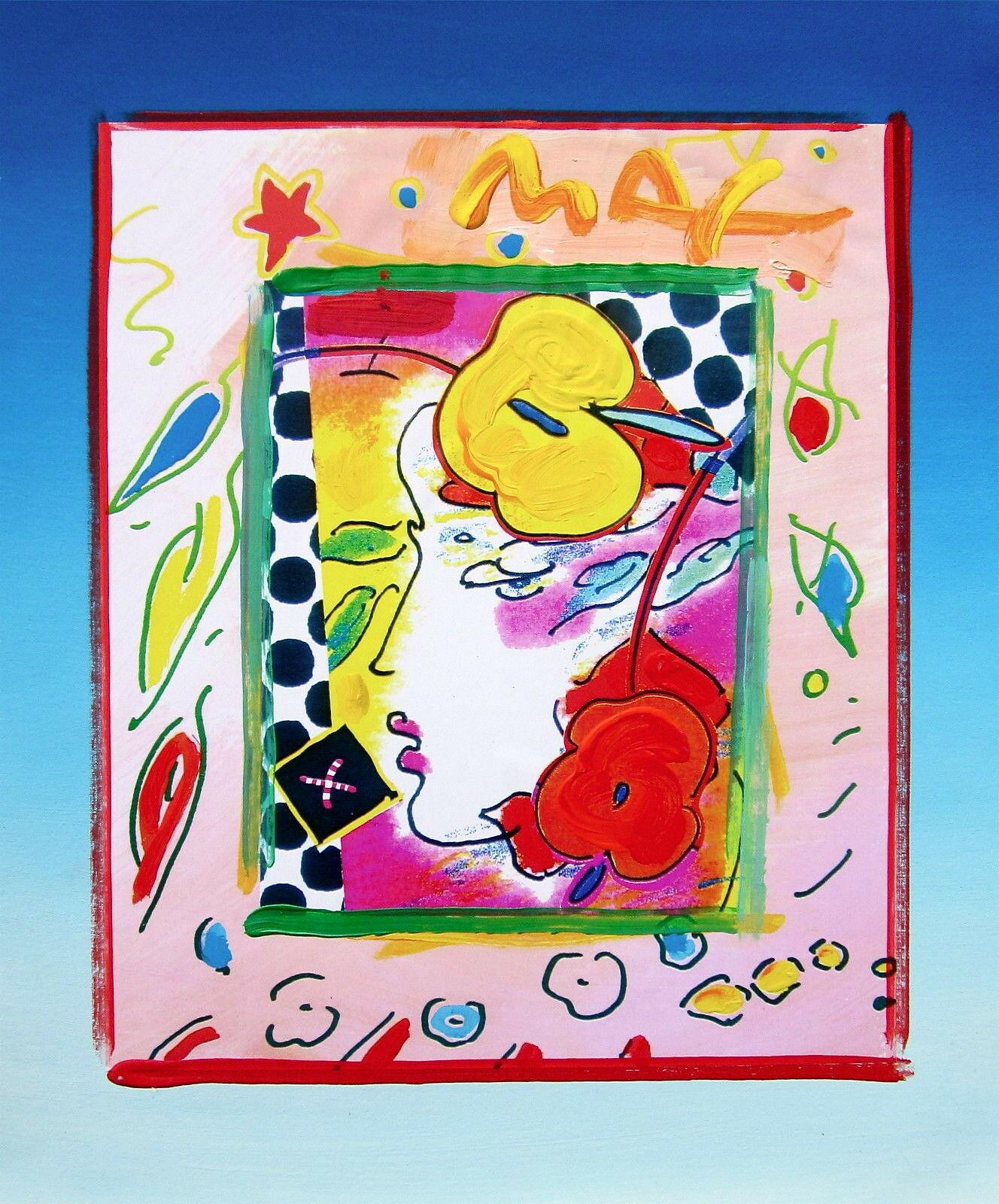 Lady Profile, Original Mixed Media Painting, Peter Max - SIGNED