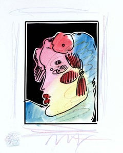 Lady Profile W/Flower II (B&W Series), Mixed Media, Peter Max - SIGNED