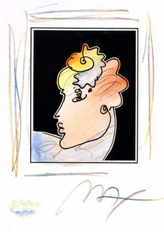 Lady Profile With Flower (B&W Series), Mixed Media, Peter Max - SIGNED