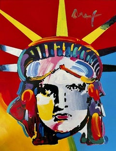 Liberty Head, Mixed Media Painting, Peter Max - SIGNED