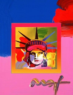 Liberty Head On Blends III, Orig Mixed Media Painting, Peter Max - SIGNED