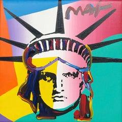 Liberty Head, Original Acrylic Painting on Canvas, Peter Max