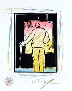 Man At Easel (B&W Series), Orig Mixed Media Painting, Peter Max - SIGNED