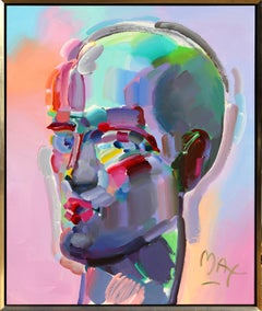 Neo Head, Large Peter Max painting 1994