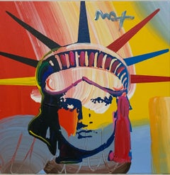 Original Acrylic/oil on Canvas Peter Max Painting w/ Provenance Delta Liberty