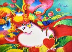 "Original Acrylic Painting, ""Flower Blossom Lady"" Pop Art Portrait, Peter Max"