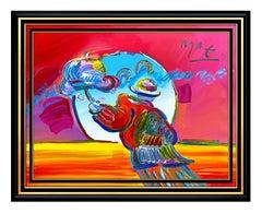 PETER MAX Acrylic PAINTING on CANVAS All ORIGINAL Signed UMBRELLA MAN Art oil