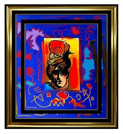 PETER MAX Acrylic Painting ORIGINAL Artists PROFILE Signed POP ART beauty oil