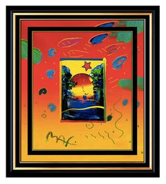 PETER MAX Acrylic PAINTING Original BETTER WORLD Signed POP ART oil Love ICONIC