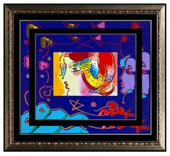 PETER MAX Acrylic Painting ORIGINAL Blushing BEAUTY PROFILE Signed POP ART oil