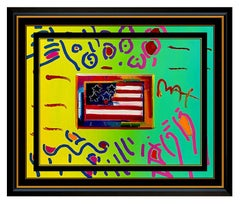 PETER MAX Acrylic Painting ORIGINAL FLAG WITH HEART Signed POP ART oil Love USA