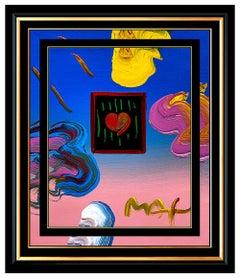 PETER MAX Acrylic Painting ORIGINAL HEART Signed POP ART Love Beauty Profile Oil