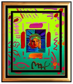 PETER MAX Acrylic Painting ORIGINAL LIBERTY HEAD Signed POP ART oil Statue of
