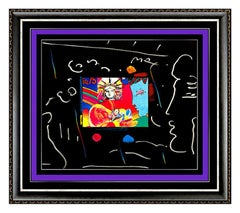 PETER MAX Acrylic Painting ORIGINAL LIBERTY HEAD Signed Pop Art Pastel Collage