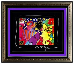 PETER MAX Acrylic Painting ORIGINAL POP ART PROFILES Signed Ink Collage Rare