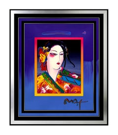 PETER MAX Acrylic Painting ORIGINAL Signed ASIA Beauty Profile Pop ART large oil