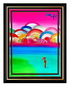 PETER MAX Acrylic PAINTING ORIGINAL UMBRELLA MAN Signed Pop Art ICONIC oil LARGE