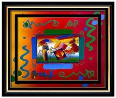 PETER MAX Acrylic PAINTING Original UMBRELLA MAN Signed POP ART oil ICONIC