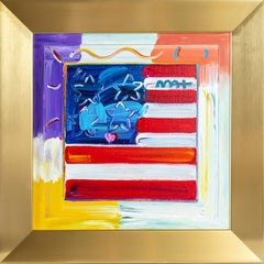 Peter Max Flag w/ Heart Original Acrylic Painting on Canvas Hand painted Signed