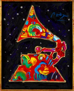 """Peter Max Grammy Vol11 """"91"""" Acrylic/canvas Contemporary painting Hollywood award"""
