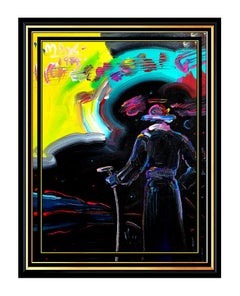 Peter Max Large Original Acrylic Painting On Canvas Sage with Cane Signed Art