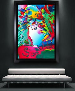 """Peter Max Massive $120k+ 60""""x48"""" Canvas Blushing Beauty Original Painting Signed"""