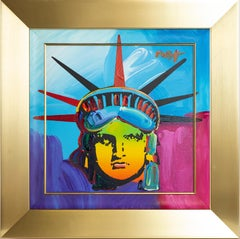 """Peter Max Original Acrylic Painting on Canvas """"Delta"""" Statue of Liberty"""