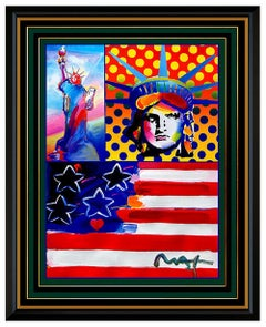 PETER MAX Original PAINTING God Bless AMERICA Statue of Liberty HEAD Signed Art