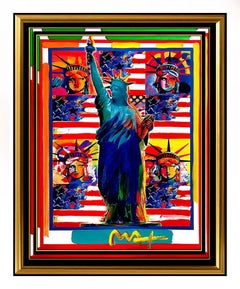 PETER MAX Original PAINTING God Bless AMERICA Statue of Liberty HEAD Signed SBO