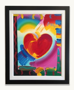 Peter Max Original Painting HEART Signed Rare Framed Vibrant Colors Red Pink