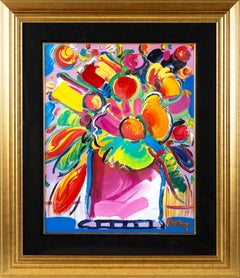"""Peter Max, Original Painting Lithograph """"Flowers"""" thick, bold, acrylic strokes"""