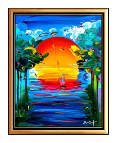 PETER MAX Original PAINTING on CANVAS Signed BETTER WORLD Acrylic LARGE 40x30