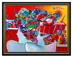 PETER MAX Original PAINTING on CANVAS Signed BLUSHING BEAUTY profiles HUGE 48x60