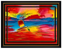 PETER MAX Original PAINTING on CANVAS Stormy SAILING Pop Art SIGNED ACRYLIC OIL