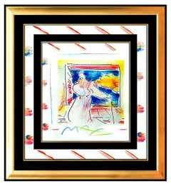 PETER MAX Original PAINTING Pop Art SAGE with CANE Rare Acrylic & Pastel Signed