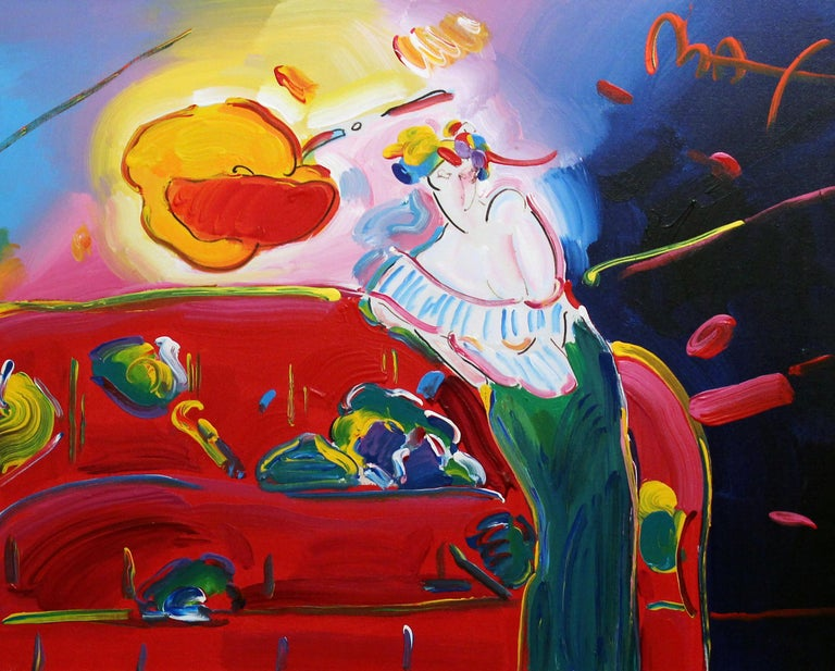 This is a one of a kind large unique painting by Peter Max which depicts a woman posed by a couch.  This is a fully finished composition where every inch of the canvas was addressed in detail.  This work was purchased from the artist himself and