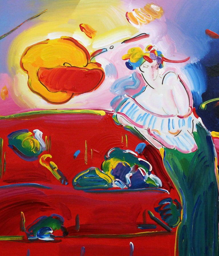 Peter Max Original Painting Signed Rare Framed Vibrant Red Pink Woman Interior For Sale 1