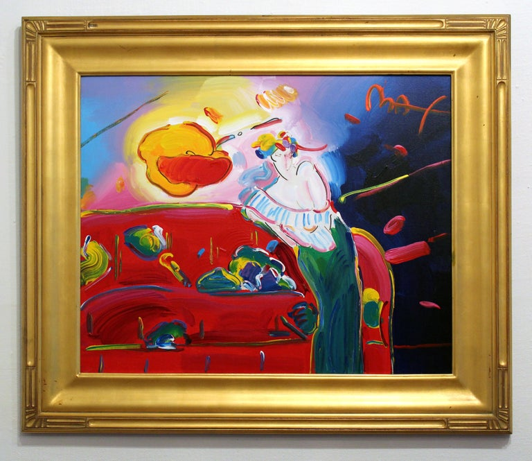Peter Max Original Painting Signed Rare Framed Vibrant Red Pink Woman Interior - Brown Figurative Painting by Peter Max
