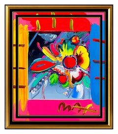 PETER MAX Original Signed PAINTING Abstract VASE OF FLOWERS Pop ART Acrylic Oil
