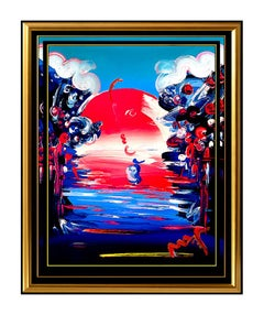 PETER MAX Original Signed PAINTING BETTER WORLD Pop ART Acrylic Oil Iconic LOVE
