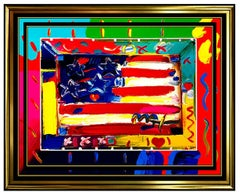 PETER MAX Original signed PAINTING FLAG WITH HEART Art USA America Liberty LARGE