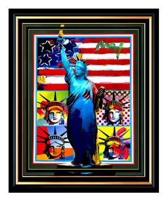 PETER MAX original signed PAINTING FULL STATUE of LIBERTY Head with FLAG Pop Art
