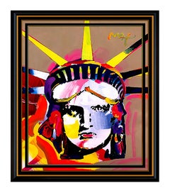 PETER MAX original signed PAINTING Large DELTA Statue of LIBERTY Head USA