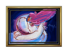 PETER MAX Original Signed PAINTING Large I LOVE THE WORLD Pop ART Acrylic oil