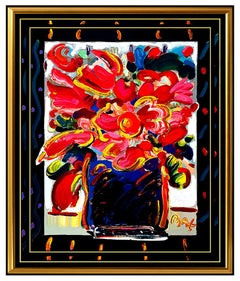 PETER MAX Original Signed PAINTING Large POP ART FLOWERS Acrylic Oil Still Life